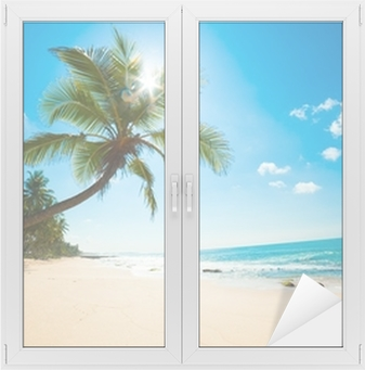 Fensteraufkleber Tropenstrand in der Sonnep