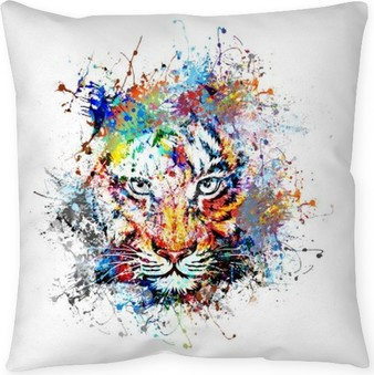 яркий фон с тигром Floor Pillow