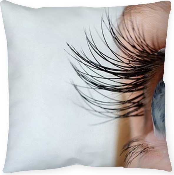 Female eye with long eyelashes close-up Floor Pillow • Pixers® • We ...