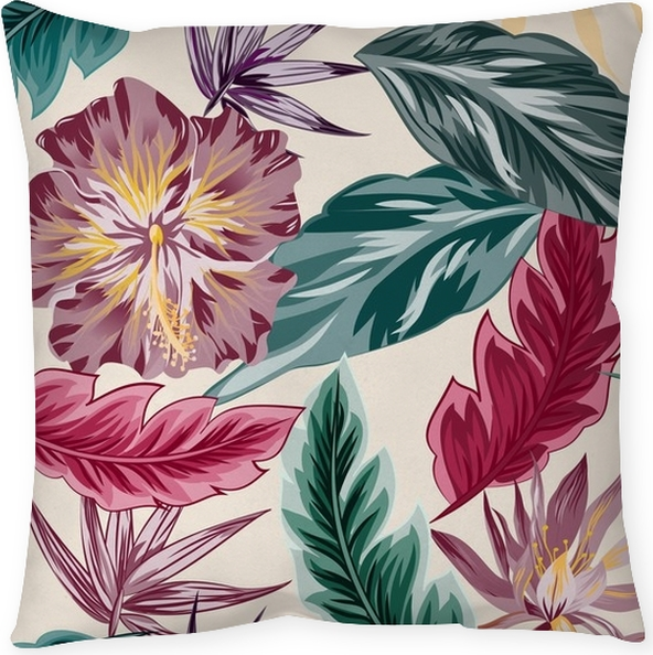Tropical flowers, jungle leaves, bird of paradise flower. Floor ...