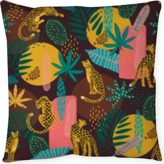 Vestor seamless pattern with leopards and tropical leaves. Floor Pillow