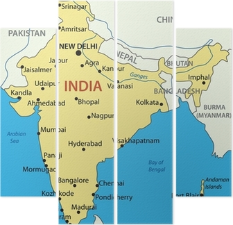 Republic Of India Vector Map Wall Mural Pixers We Live To Change