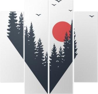 Fortyk Räcker ritad resa emblem med gran träd texturerad vektor illustration.