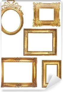 Vinyl Fotobehang 5 oude houten frames op een witte achtergrond gouden