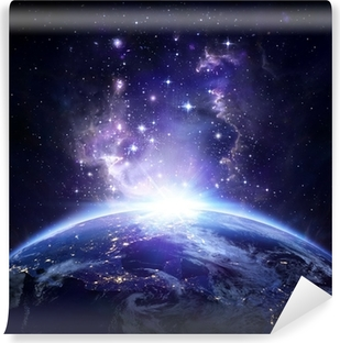 Vinyl Fotobehang Aarde bekijken vanuit de ruimte 's nachts - USA