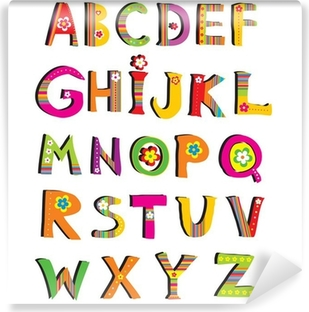 Vinyl Fotobehang ABC. vector bloem lettertype.