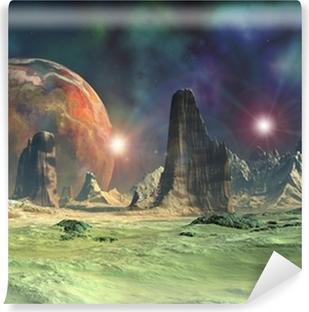 Vinyl Fotobehang Alien Planet - 3D Gesmolten Computer Kunstwerk