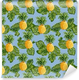Vinyl Fotobehang Ananas en tropische Achtergrond van Bladeren