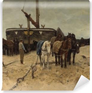 Vinyl Fotobehang Anton Mauve - Rybářská loď na pláži