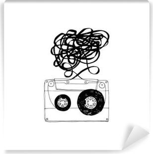 Vinyl Fotobehang Audio cassette met verwarde tape.Vector.
