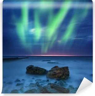 Vinyl Fotobehang Aurora borealis over de zee