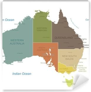 Vinyl Fotobehang Australië-zeer gedetailleerde map.Layers gebruikt.