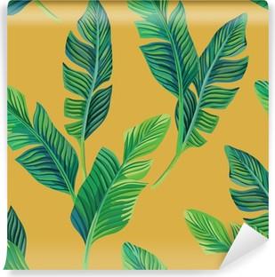 Vinyl Fotobehang bananenbladeren naadloze achtergrond