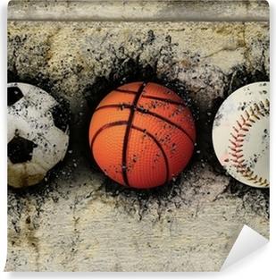 Vinyl Fotobehang Basketbal, honkbal en voetbal