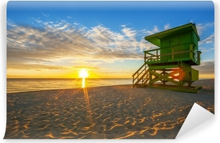 Vinyl Fotobehang Beroemde Miami South Beach zonsopgang