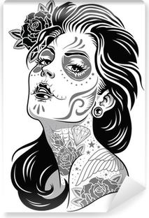 Vinyl Fotobehang Black and White Day of Dead Girl Vector Illustratie