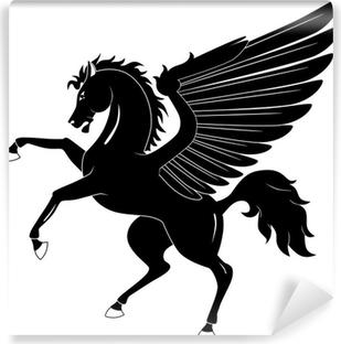 Vinyl Fotobehang Black Pegasus op een witte achtergrond