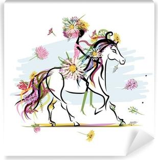 Vinyl Fotobehang Bloemen meisje op witte paard voor uw ontwerp