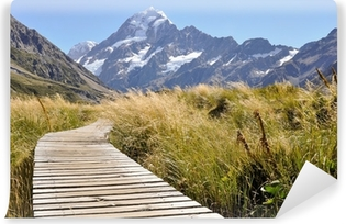 Vinyl Fotobehang Boardwalk richting Mount Cook, Nieuw-Zeeland