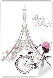 Vinyl Fotobehang Bonjour Parijs tekst met Eiffeltoren en fiets