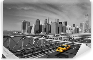 Vinyl Fotobehang Brooklyn Bridge Taxi, New York