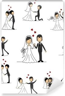 Vinyl Fotobehang Bruiloft stripfiguren - de bruid en bruidegom
