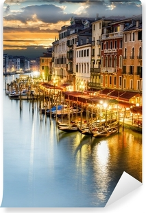 Vinyl Fotobehang Canal Grande in Venetië in de avond