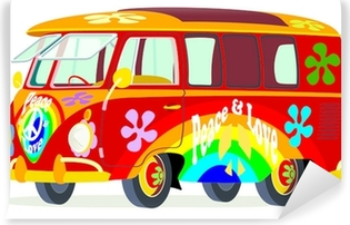 Vinyl Fotobehang Caricatura furgoneta Volkswagen T1 microbus hippie multicolor vista frontale y laterale