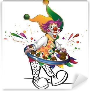 Vinyl Fotobehang Clown schildert zichzelf