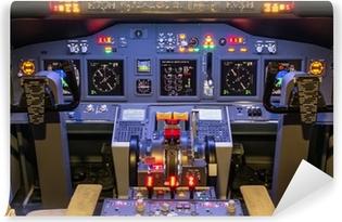 Vinyl Fotobehang Cockpit van een zelfgemaakte Flight Simulator - Boeing 737-800