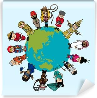 Vinyl Fotobehang Concept diversiteit, mensen cartoons over de planeet aarde met onderscheid