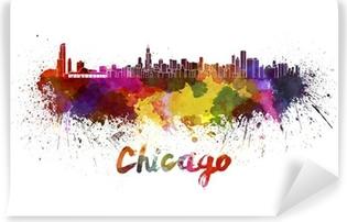 Vinyl Fotobehang De horizon van Chicago in aquarel