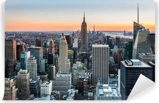 Vinyl Fotobehang De horizon van New York bij zonsondergang