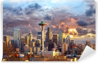 Vinyl Fotobehang De horizon van Seattle bij zonsondergang, WA, Verenigde Staten