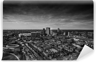Vinyl Fotobehang De skyline van Den Haag zwart en wit