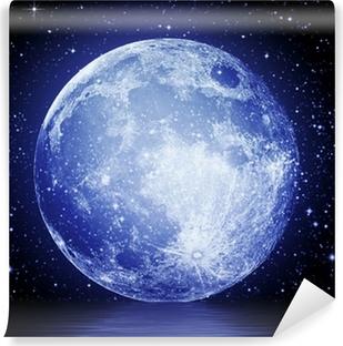 Vinyl Fotobehang De volle maan aan de nachtelijke hemel weerspiegeld in het water