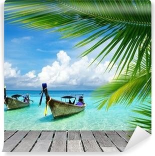Vinyl Fotobehang Dek met uitzicht op een tropische zee