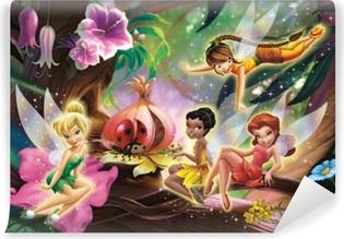 Fotobehang Disney Tinkerbell en de feeën op een tak