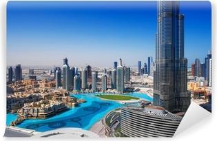 Vinyl Fotobehang Downtown Dubai is een populaire plek om te winkelen en sightseeing