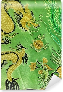 Vinyl Fotobehang Draak en phoenix, Chinese zijde borduurwerk