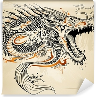 Vinyl Fotobehang Dragon Schets van de krabbel Tattoo Vector