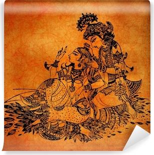 Vinyl Fotobehang Een oude Radha Krishna schilderijen