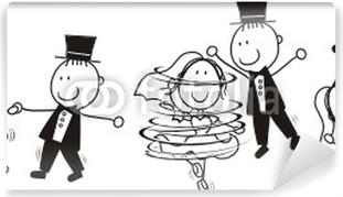Vinyl Fotobehang Eerste dans bruiloft cartoon