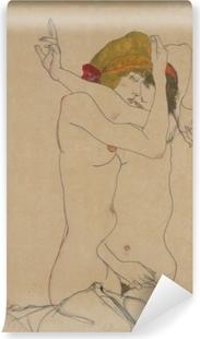 Vinyl Fotobehang Egon Schiele - Twee vrouwen omarmen elkaar