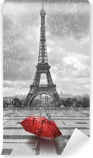 Vinyl Fotobehang Eiffel toren in de regen. Zwart-wit foto met rode element