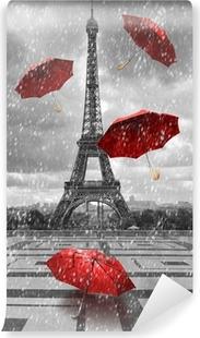 Vinyl Fotobehang Eiffel toren met vliegende paraplu's.