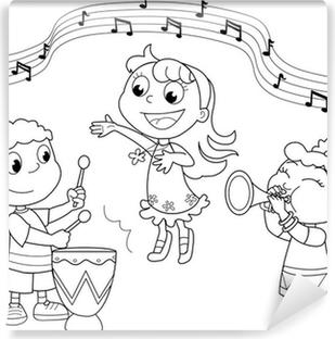 Vinyl Fotobehang Ensembles van kinderen die zingen en spelen