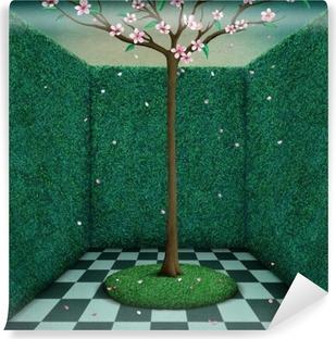 Vinyl Fotobehang Fantasie verhaal illustratie of poster green room en Boom