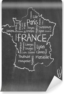 Vinyl Fotobehang Frankrijk kaart en woorden wolk met grotere steden