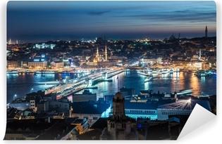 Vinyl Fotobehang Galatabrug Istanbul Bosporus nacht